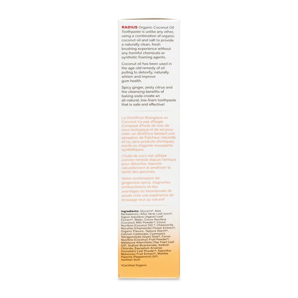 Organik Beyazlatıcı Diş Macunu, Zencefil Narenciye, 85 gr, Radius