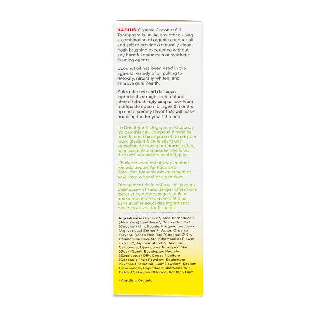 Organik Çocuk Diş Macunu, Hindistancevizi ve Muz, 48 gr, Radius
